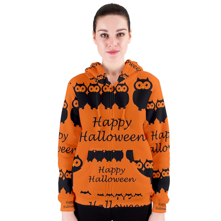 Happy Halloween - owls Women s Zipper Hoodie