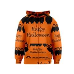 Happy Halloween - owls Kids  Zipper Hoodie