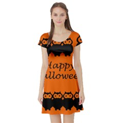 Happy Halloween   Owls Short Sleeve Skater Dress