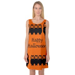 Happy Halloween   Owls Sleeveless Satin Nightdress