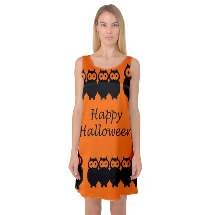 Happy Halloween - owls Sleeveless Satin Nightdress
