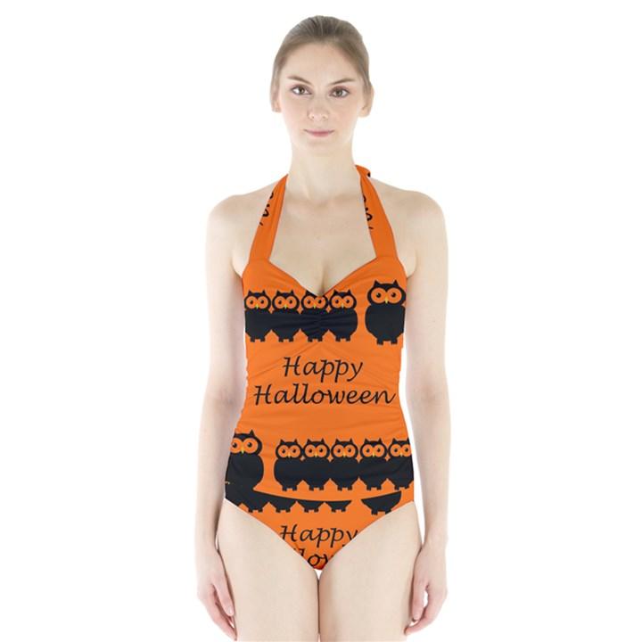 Happy Halloween - owls Halter Swimsuit