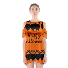 Happy Halloween   Owls Cutout Shoulder Dress by Valentinaart