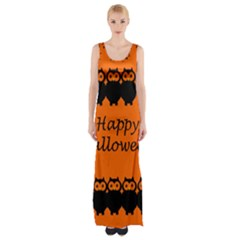 Happy Halloween   Owls Maxi Thigh Split Dress
