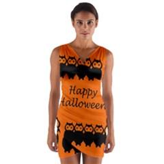 Happy Halloween - owls Wrap Front Bodycon Dress