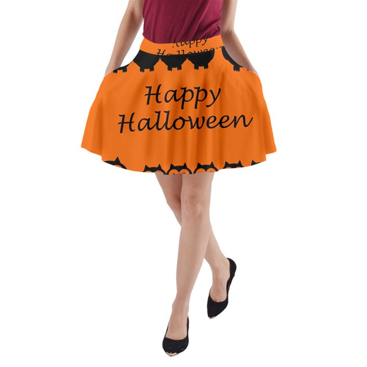 Happy Halloween - owls A-Line Pocket Skirt