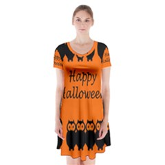 Happy Halloween   Owls Short Sleeve V Neck Flare Dress