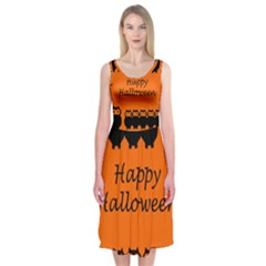 Happy Halloween   Owls Midi Sleeveless Dress