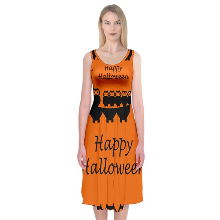 Happy Halloween - owls Midi Sleeveless Dress