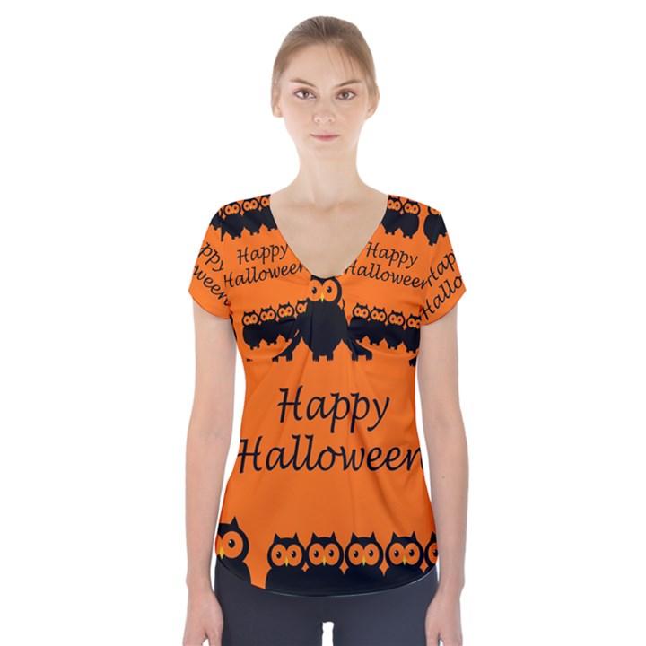 Happy Halloween - owls Short Sleeve Front Detail Top