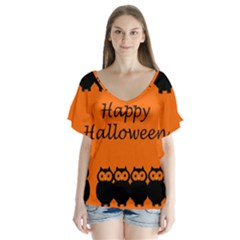 Happy Halloween   Owls Flutter Sleeve Top