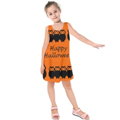 Happy Halloween   Owls Kids  Sleeveless Dress by Valentinaart