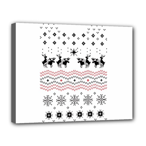 Ugly Christmas Humping Canvas 14  X 11  by Onesevenart