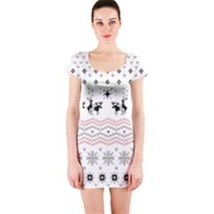 Ugly Christmas Humping Short Sleeve Bodycon Dress by Onesevenart