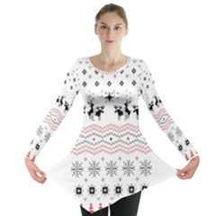 Ugly Christmas Humping Long Sleeve Tunic  by Onesevenart