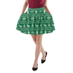 Ugly Christmas A Line Pocket Skirt by Onesevenart