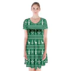 Ugly Christmas Short Sleeve V Neck Flare Dress by Onesevenart