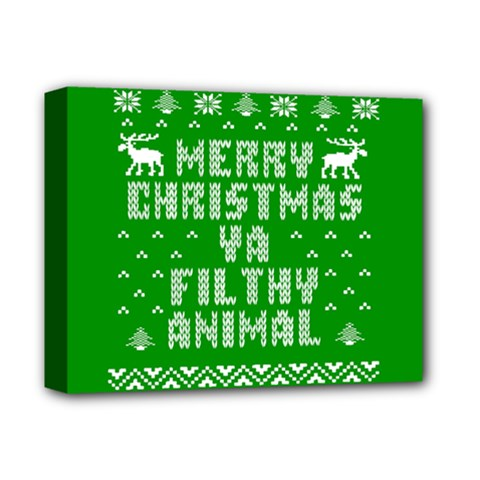 Ugly Christmas Ya Filthy Animal Deluxe Canvas 14  X 11  by Onesevenart