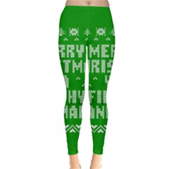 Ugly Christmas Ya Filthy Animal Leggings  by Onesevenart