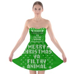Ugly Christmas Ya Filthy Animal Strapless Bra Top Dress by Onesevenart