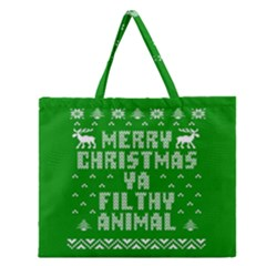 Ugly Christmas Ya Filthy Animal Zipper Large Tote Bag by Onesevenart