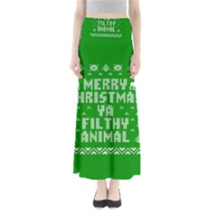 Ugly Christmas Ya Filthy Animal Maxi Skirts by Onesevenart