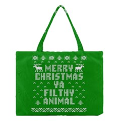 Ugly Christmas Ya Filthy Animal Medium Tote Bag by Onesevenart