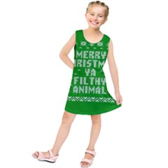 Ugly Christmas Ya Filthy Animal Kids  Tunic Dress by Onesevenart