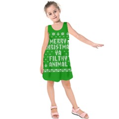 Ugly Christmas Ya Filthy Animal Kids  Sleeveless Dress by Onesevenart