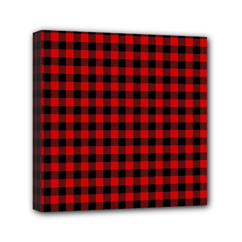 Lumberjack Plaid Fabric Pattern Red Black Mini Canvas 6  X 6