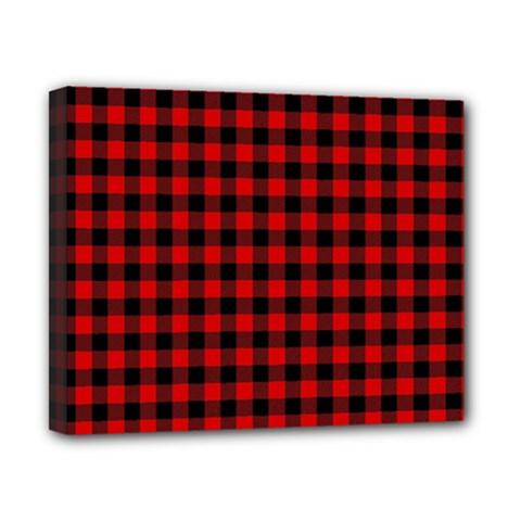 Lumberjack Plaid Fabric Pattern Red Black Canvas 10  X 8  by EDDArt