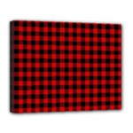 Lumberjack Plaid Fabric Pattern Red Black Canvas 14  x 11