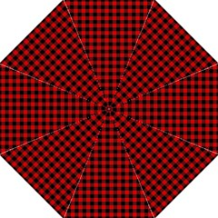 Lumberjack Plaid Fabric Pattern Red Black Folding Umbrellas by EDDArt