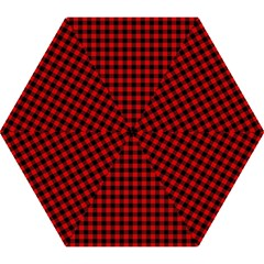 Lumberjack Plaid Fabric Pattern Red Black Mini Folding Umbrellas by EDDArt