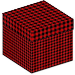 Lumberjack Plaid Fabric Pattern Red Black Storage Stool 12   by EDDArt