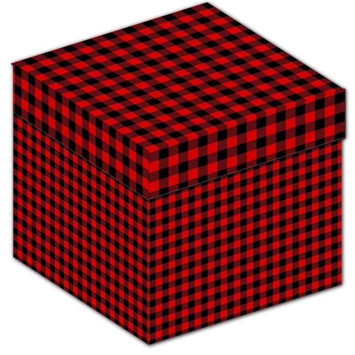 Lumberjack Plaid Fabric Pattern Red Black Storage Stool 12