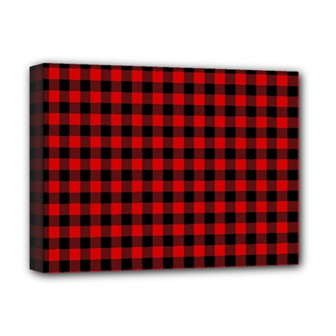 Lumberjack Plaid Fabric Pattern Red Black Deluxe Canvas 16  X 12   by EDDArt