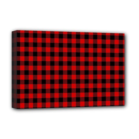 Lumberjack Plaid Fabric Pattern Red Black Deluxe Canvas 18  X 12   by EDDArt