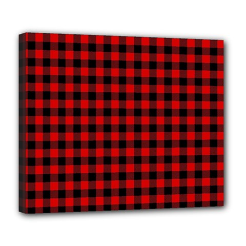 Lumberjack Plaid Fabric Pattern Red Black Deluxe Canvas 24  X 20   by EDDArt