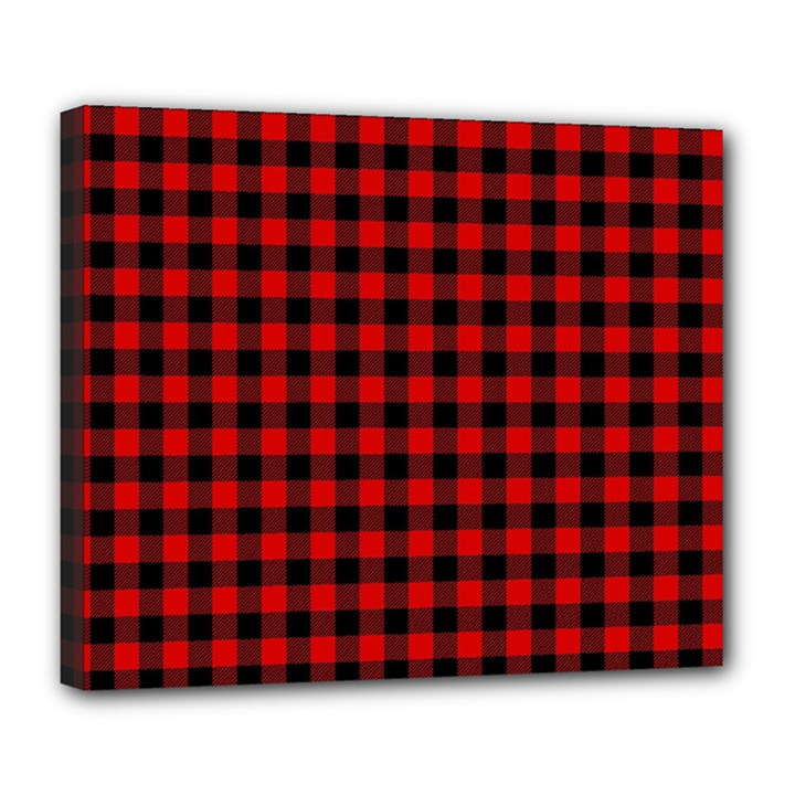 Lumberjack Plaid Fabric Pattern Red Black Deluxe Canvas 24  x 20