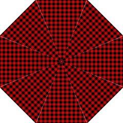 Lumberjack Plaid Fabric Pattern Red Black Hook Handle Umbrellas (medium) by EDDArt