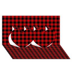 Lumberjack Plaid Fabric Pattern Red Black Twin Hearts 3d Greeting Card (8x4) by EDDArt