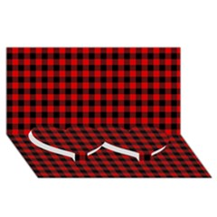 Lumberjack Plaid Fabric Pattern Red Black Twin Heart Bottom 3d Greeting Card (8x4) by EDDArt