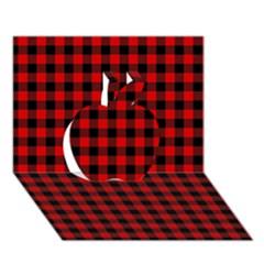 Lumberjack Plaid Fabric Pattern Red Black Apple 3d Greeting Card (7x5) by EDDArt