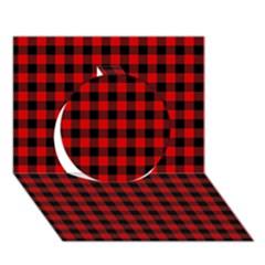 Lumberjack Plaid Fabric Pattern Red Black Circle 3d Greeting Card (7x5) by EDDArt