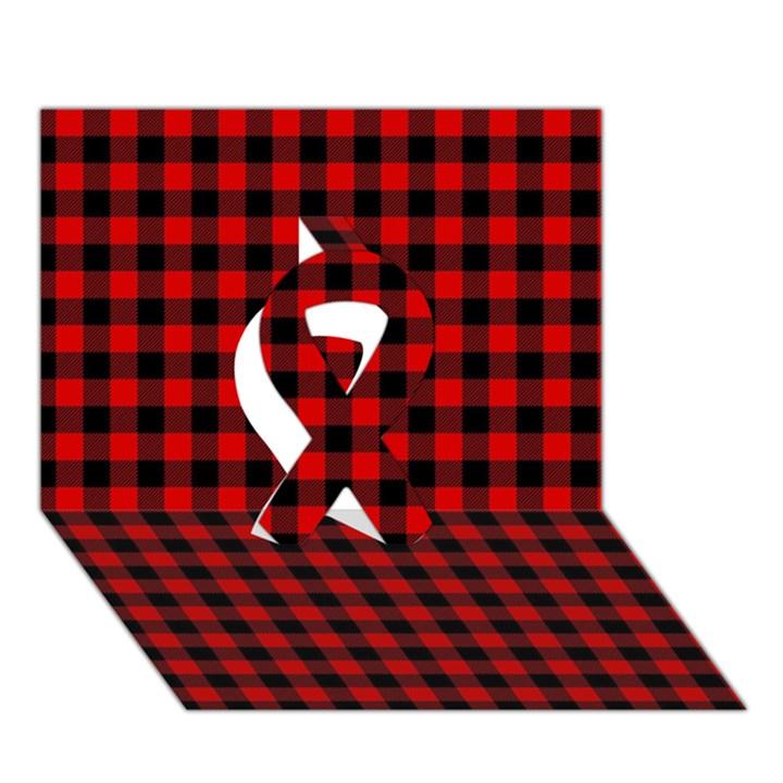 Lumberjack Plaid Fabric Pattern Red Black Ribbon 3D Greeting Card (7x5)