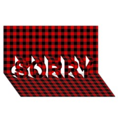 Lumberjack Plaid Fabric Pattern Red Black Sorry 3d Greeting Card (8x4)