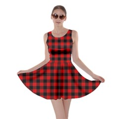 Lumberjack Plaid Fabric Pattern Red Black Skater Dress by EDDArt