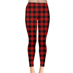 Lumberjack Plaid Fabric Pattern Red Black Leggings  by EDDArt