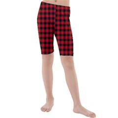 Lumberjack Plaid Fabric Pattern Red Black Kids  Mid Length Swim Shorts by EDDArt
